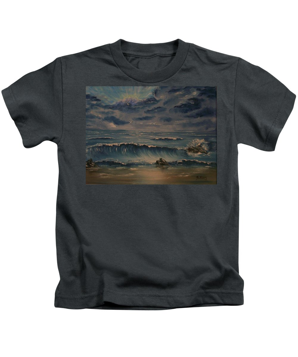 Water Kids T-Shirt featuring the painting Beach Scene by Stephen King