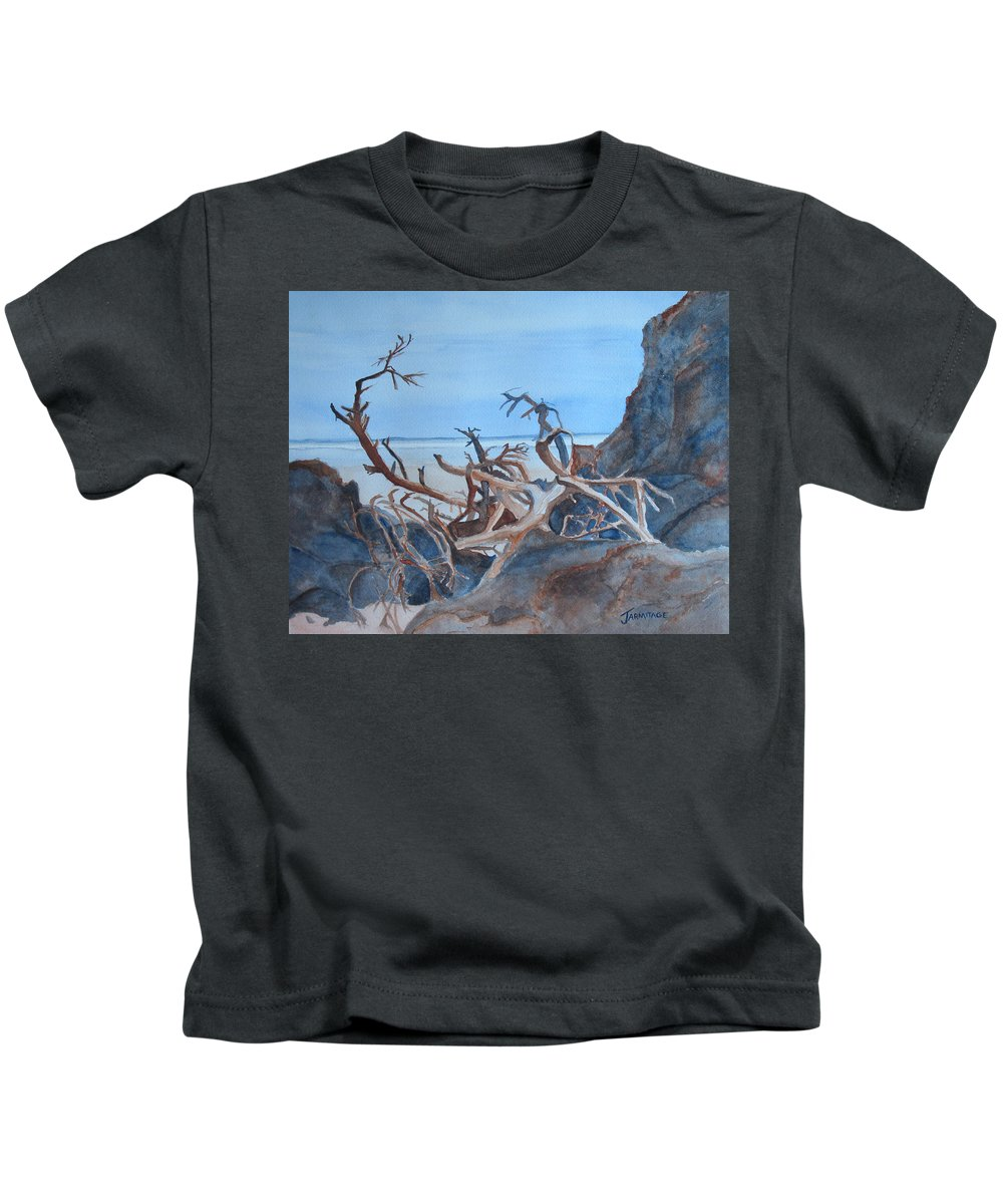 Seascapes Kids T-Shirt featuring the painting Beach Tangle by Jenny Armitage