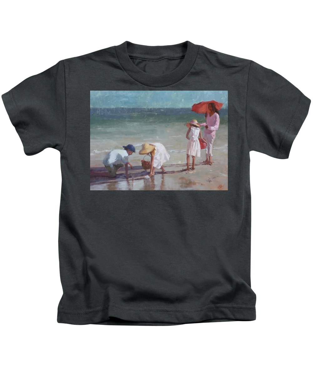 Figure Kids T-Shirt featuring the painting Beach Treasure by Hope Reis
