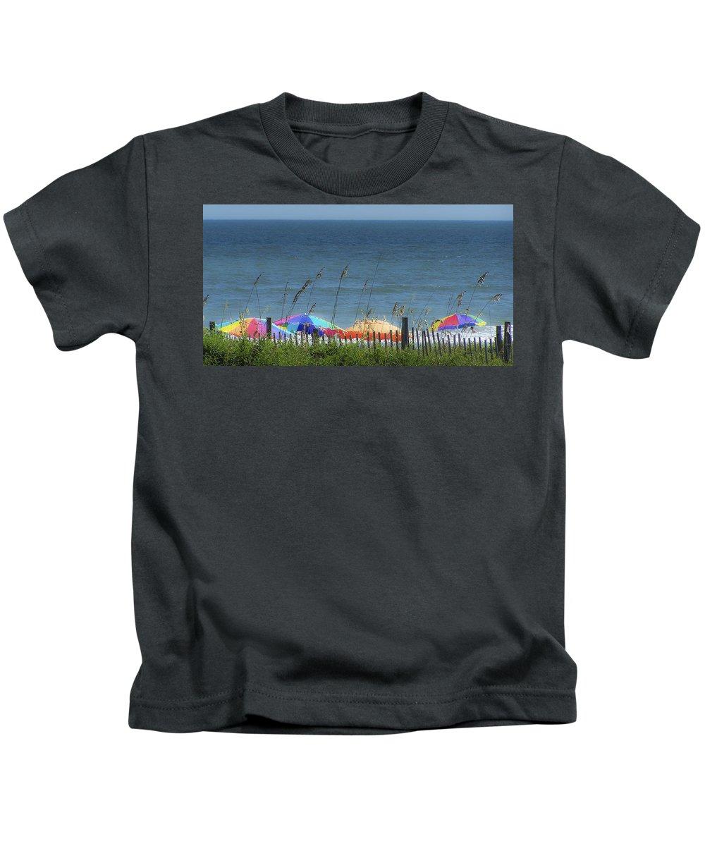 Beach Kids T-Shirt featuring the photograph Beach Umbrellas by Teresa Mucha
