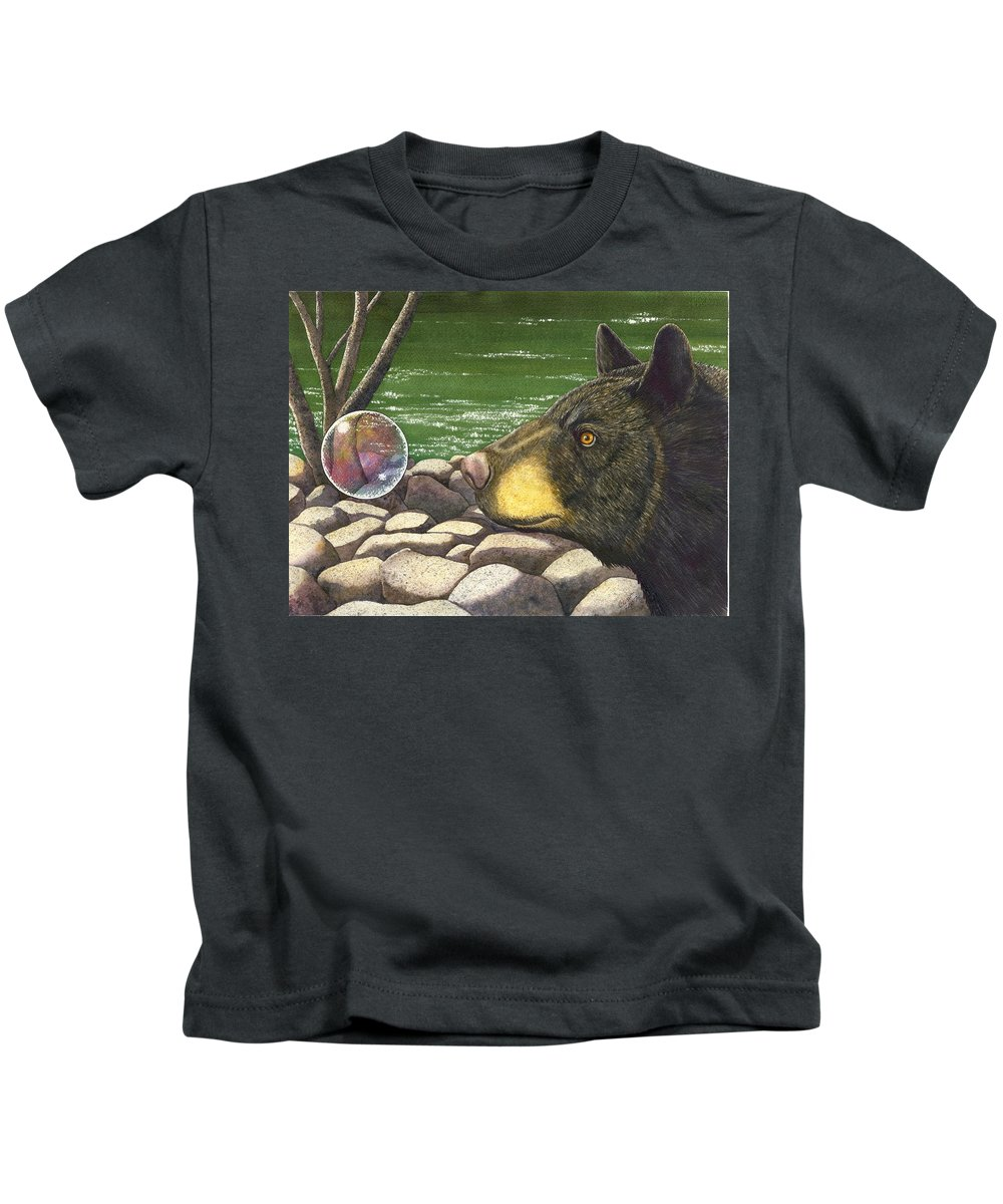 Black Bear Kids T-Shirt featuring the painting Bear bubble by Catherine G McElroy