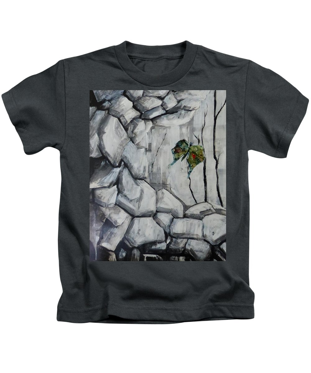 Acrylic Collage Abstract Kids T-Shirt featuring the painting Bear Peak Giant by Monique Gray