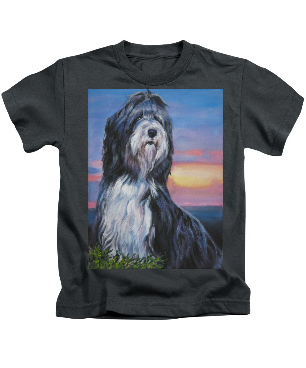 Bearded Collie Kids T-Shirt featuring the painting Bearded Collie Sunset by Lee Ann Shepard