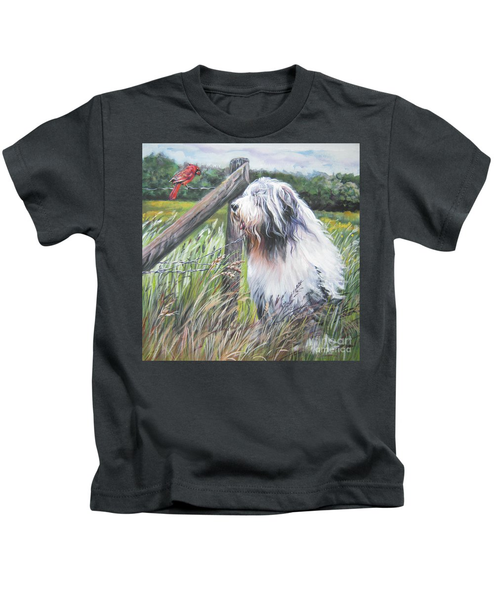 Bearded Collie Kids T-Shirt featuring the painting Bearded Collie With Cardinal by Lee Ann Shepard