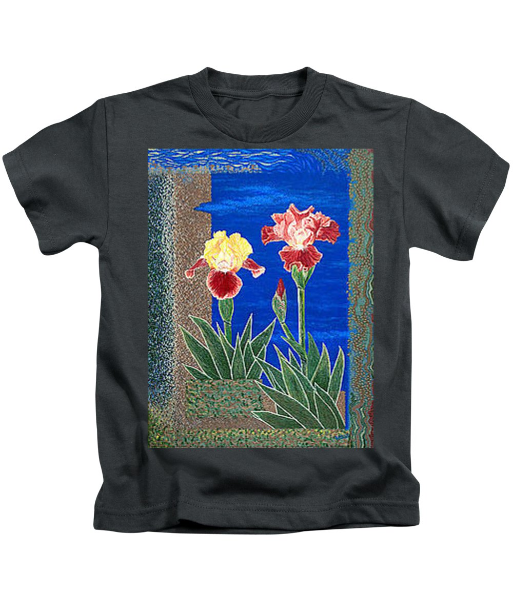 Irises Kids T-Shirt featuring the painting Bearded Irises Cheerful Fine Art Print Giclee High Quality Exceptional Color by Baslee Troutman