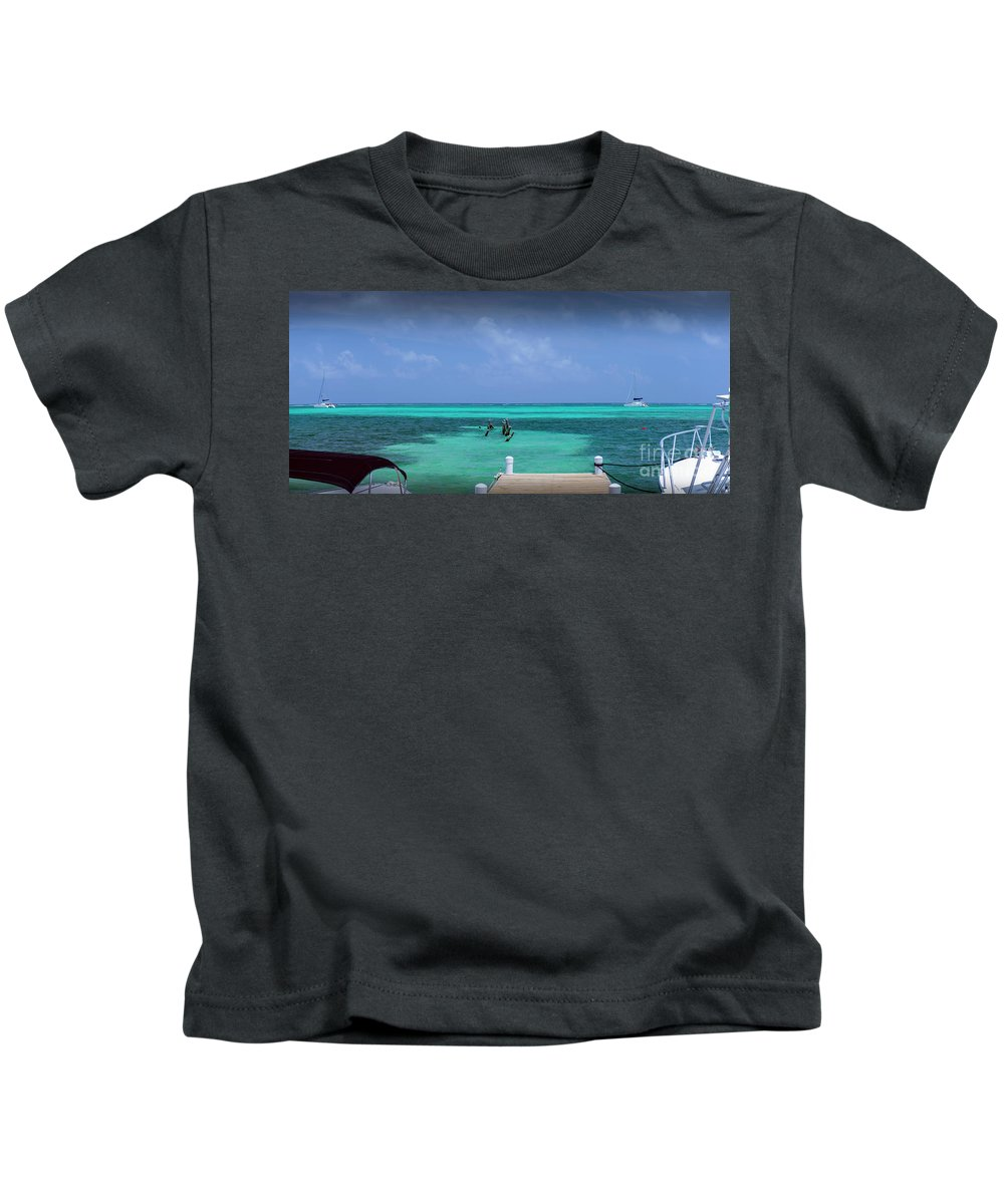 San Pedro Belize Kids T-Shirt featuring the photograph Beautiful Caribbean Turquoise Sea by David Zanzinger