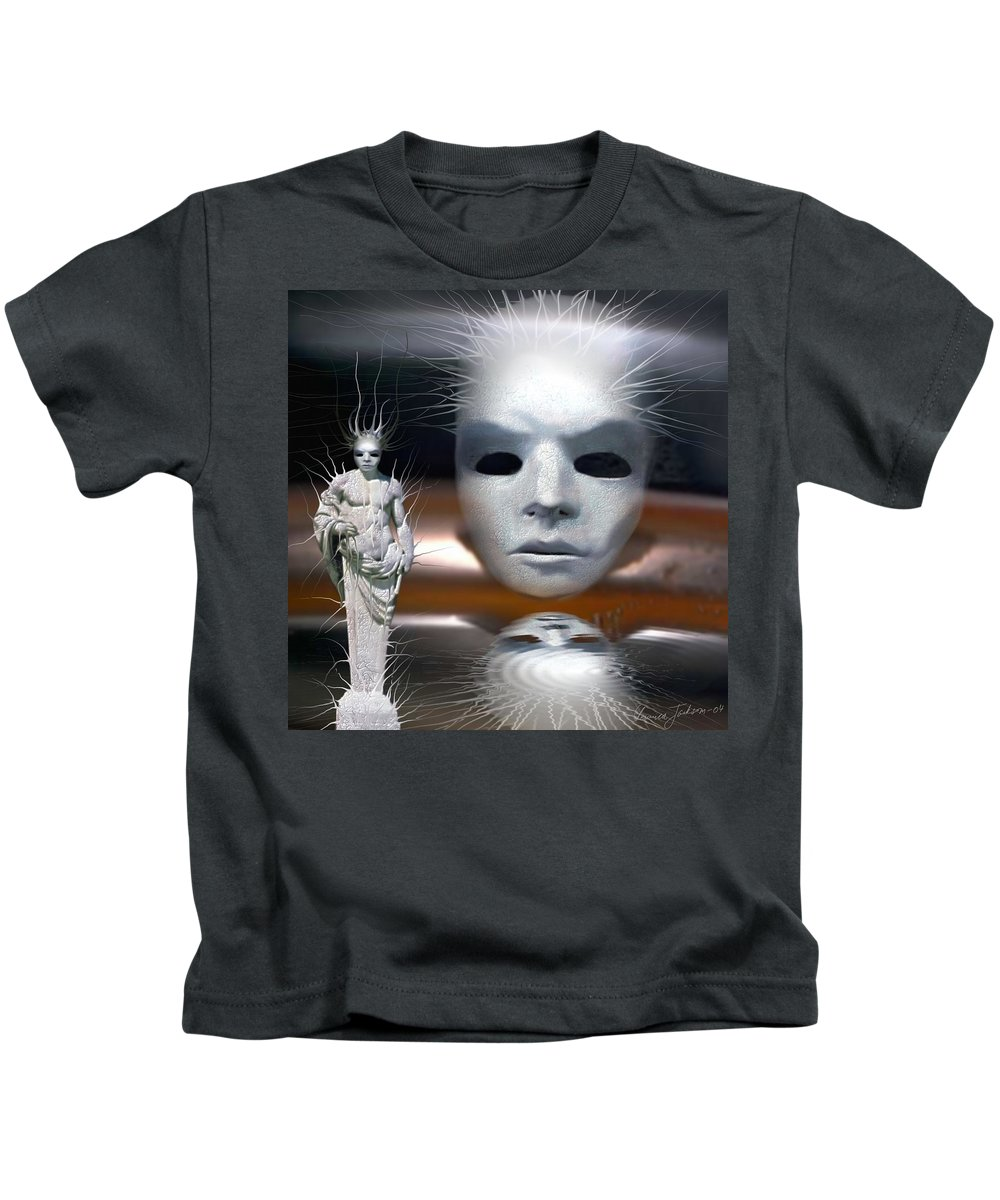 Digital Beauty Eyes Water Kids T-Shirt featuring the digital art Beauty Is Invisible To The Eye. by Veronica Jackson