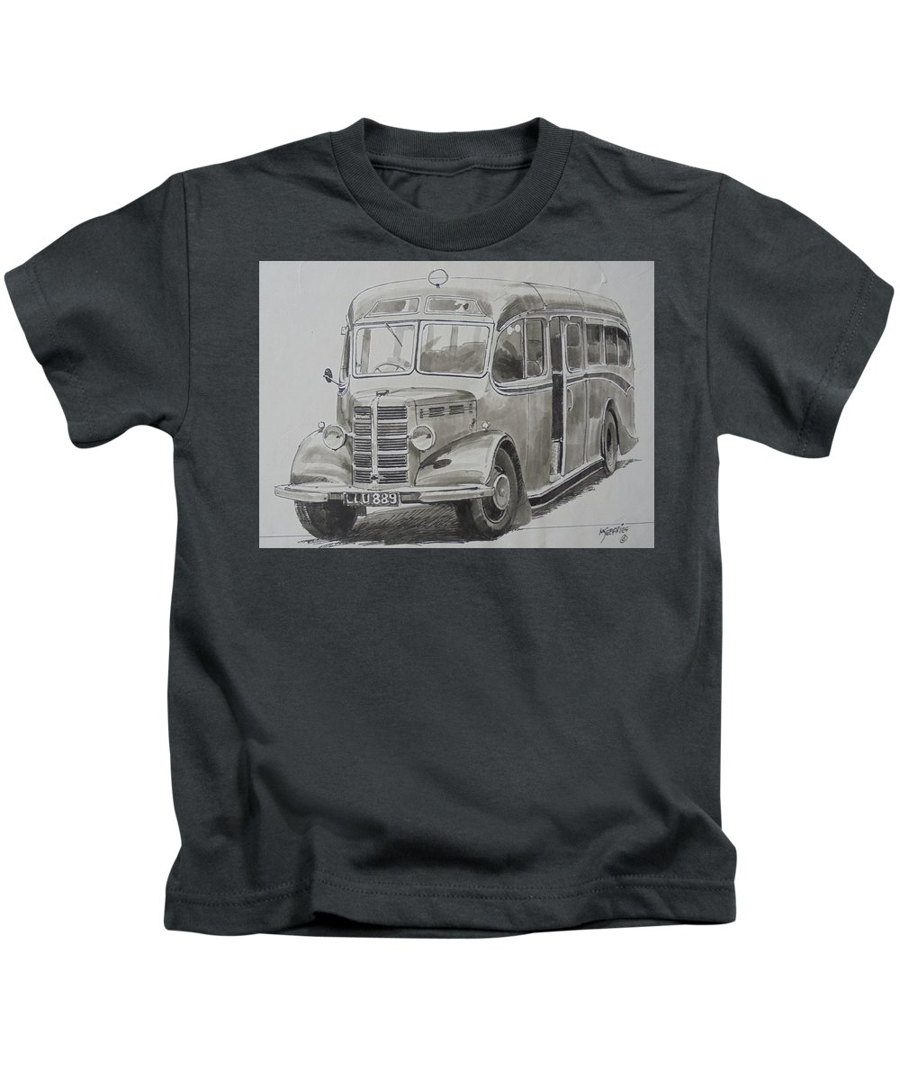 Bedford Kids T-Shirt featuring the drawing Bedford Ob Coach Of The Forties. by Mike Jeffries