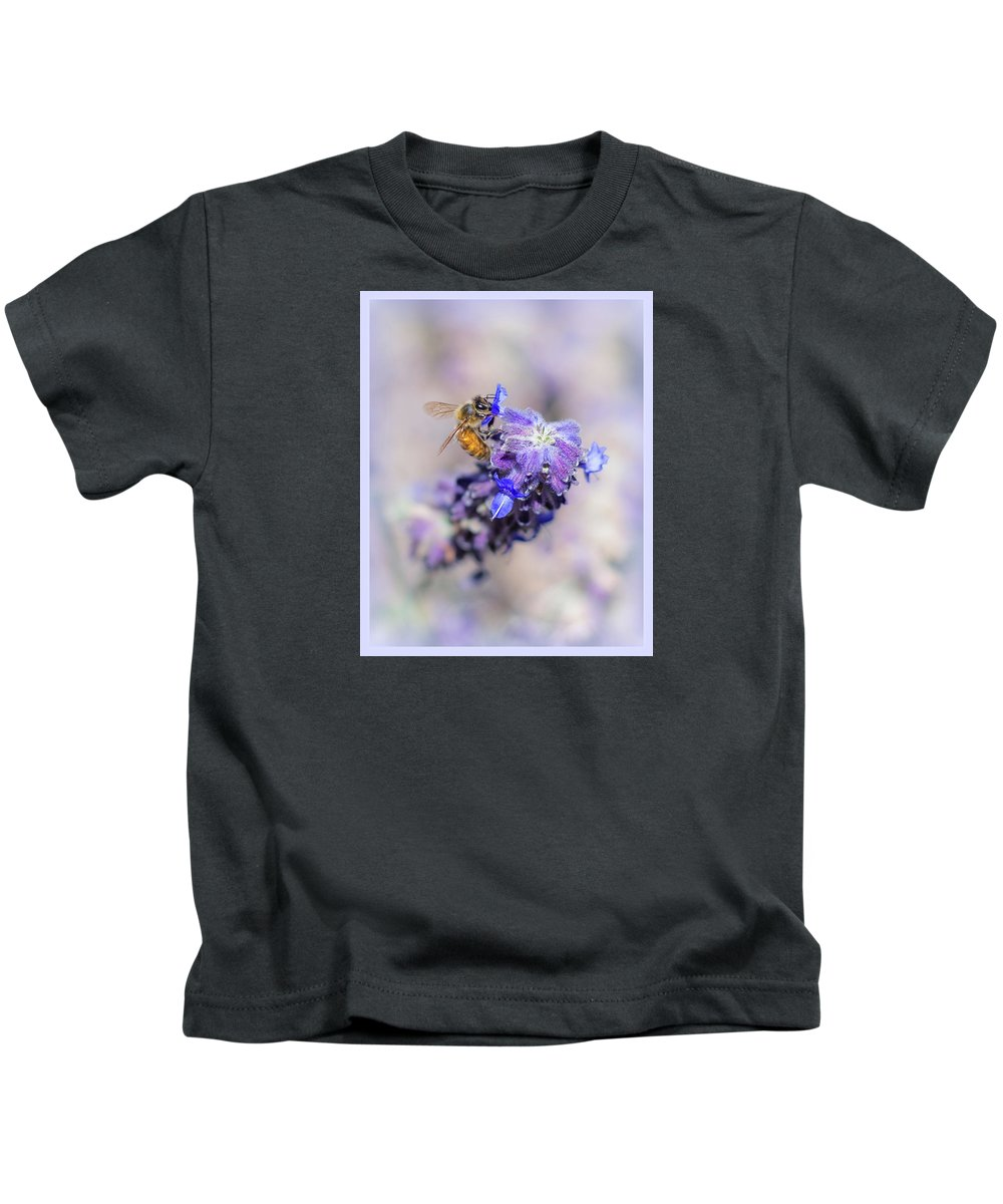 Bee Kids T-Shirt featuring the photograph Bee On Sage by Theresa Corrada