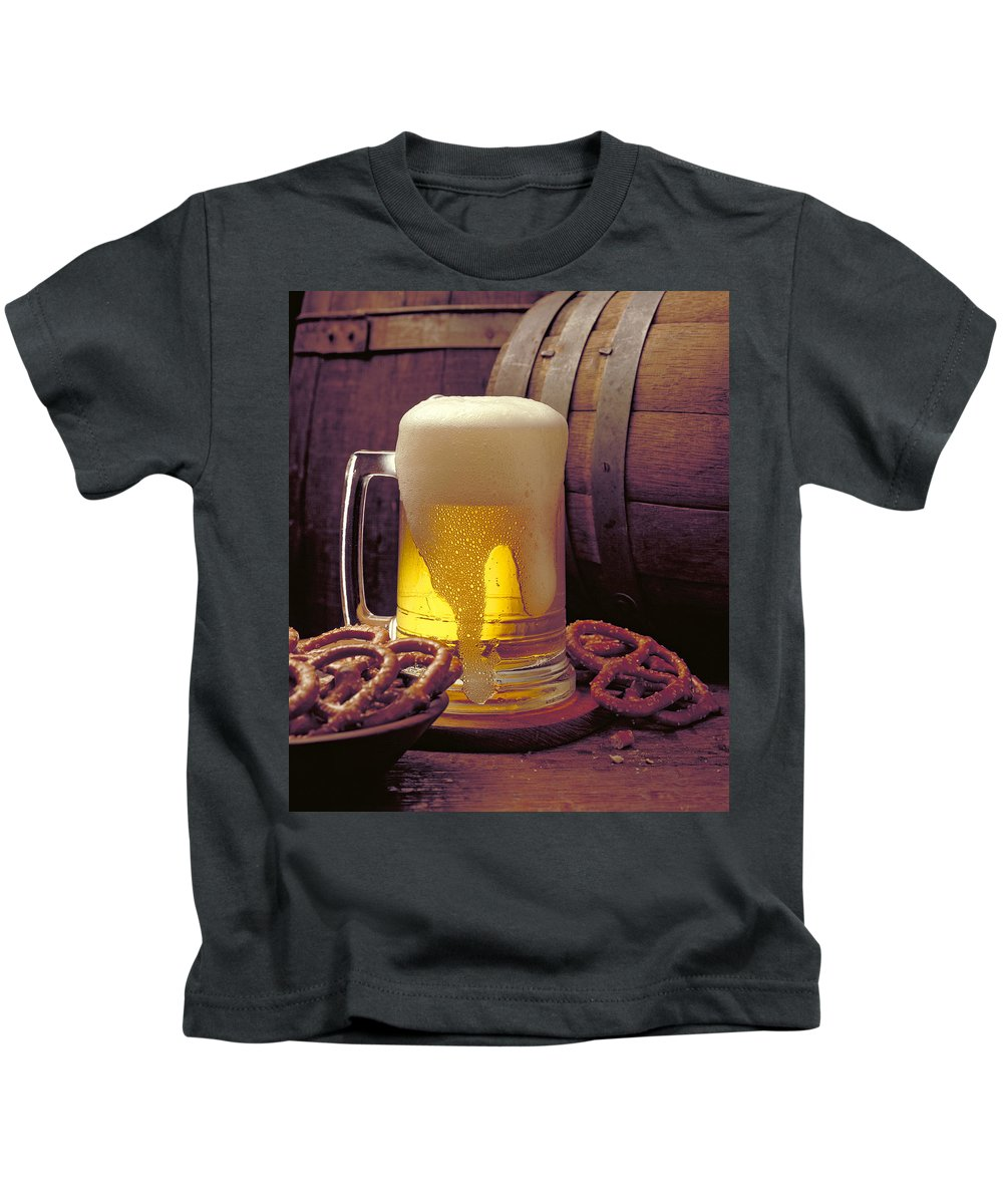 Beer Kids T-Shirt featuring the photograph Beer And Pretzels by Thomas Firak