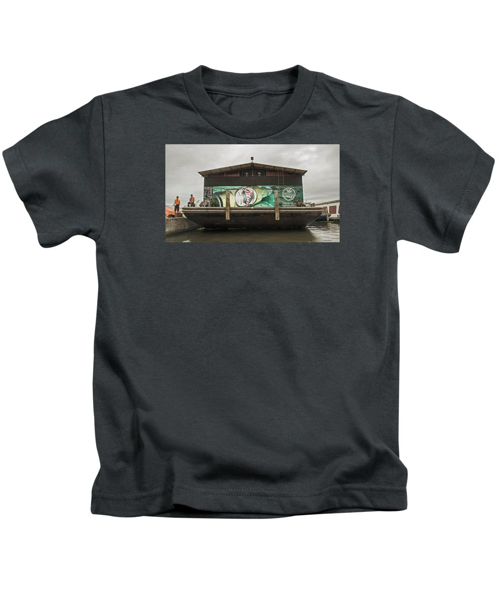 Iquitos Kids T-Shirt featuring the photograph Beer Barge - Iquitos, Peru by Allen Sheffield