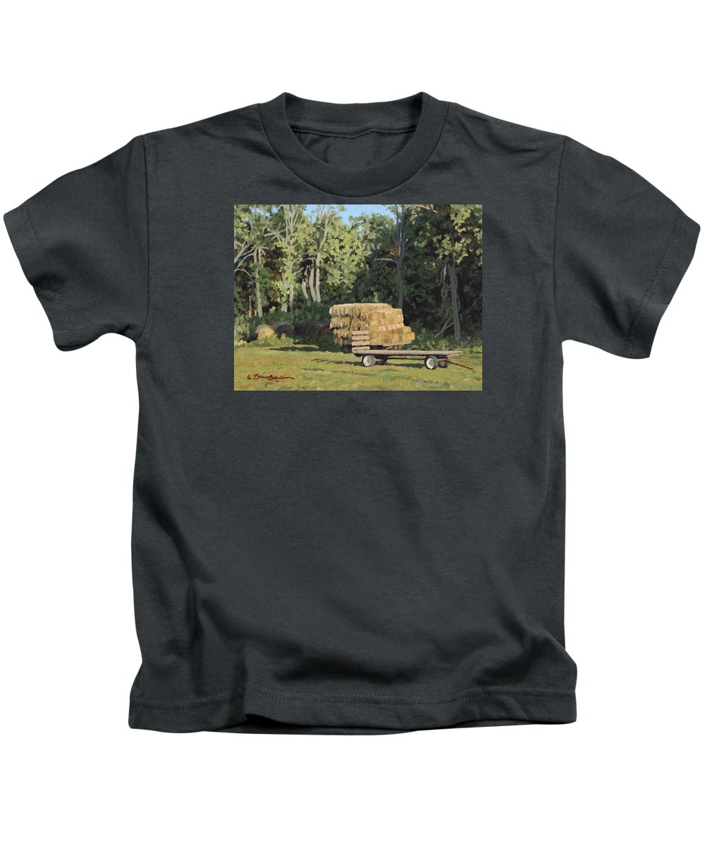 Landscape Kids T-Shirt featuring the painting Behind The Grove by Bruce Morrison