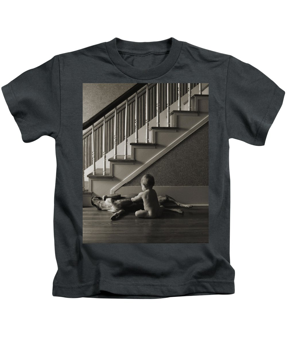 Dog And Baby Kids T-Shirt featuring the photograph Belly Scratch by Herman Robert