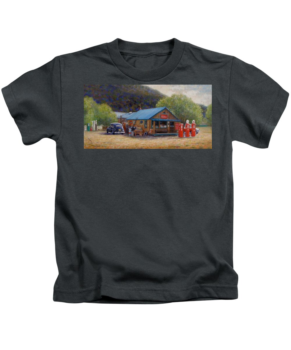 Realism Kids T-Shirt featuring the painting Below Taos 2 by Donelli DiMaria