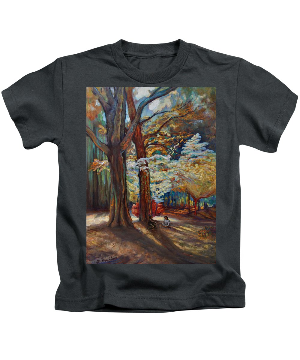 Trees Kids T-Shirt featuring the painting Below The Blossums by Maris Salmins