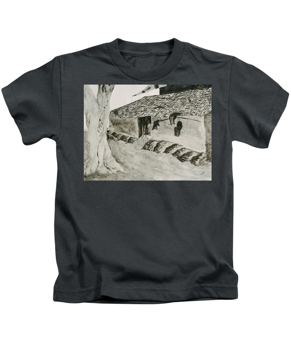 Tree Kids T-Shirt featuring the painting Beside The Watery Path by Pushpak Chattopadhyay