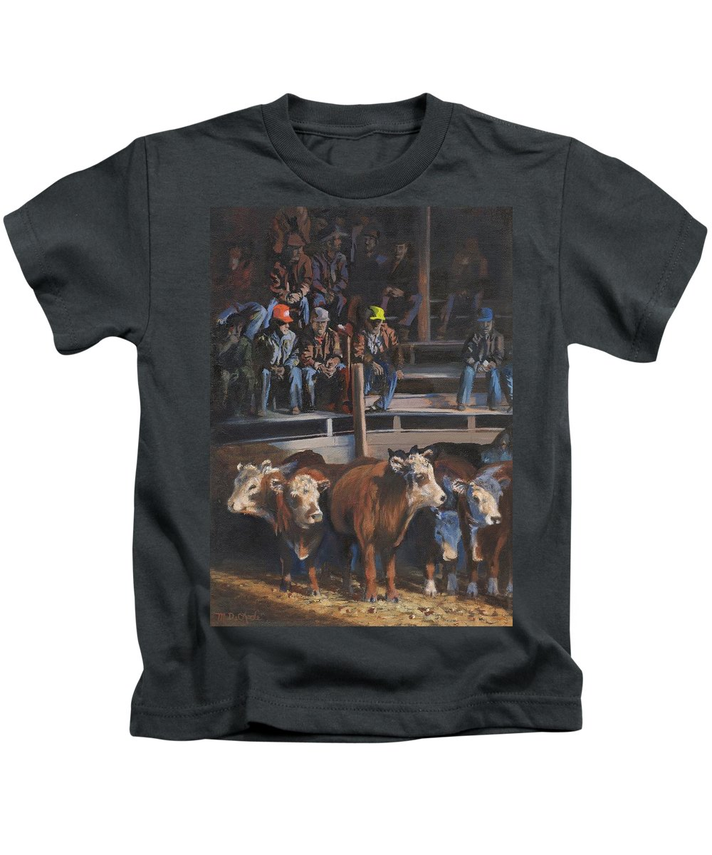 Cattle Kids T-Shirt featuring the painting Bet These'll Go High by Mia DeLode