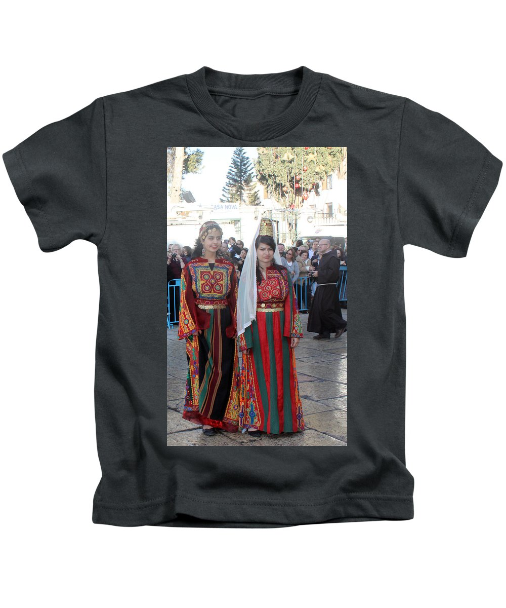 Christmas Kids T-Shirt featuring the photograph Bethlehemites In Traditional Dress by Munir Alawi