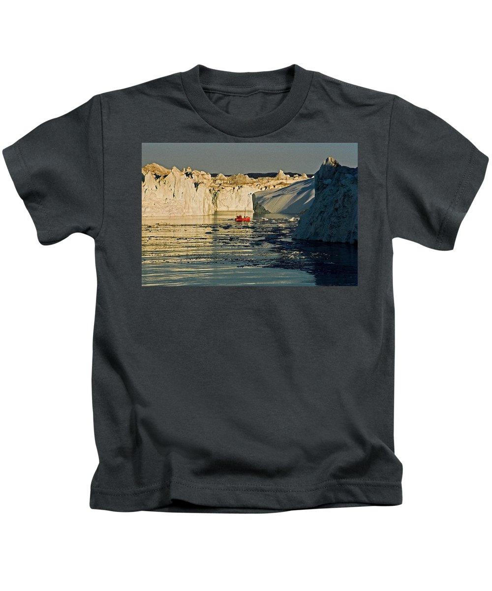 Greenland Kids T-Shirt featuring the photograph Between Icebergs - Greenland by Juergen Weiss