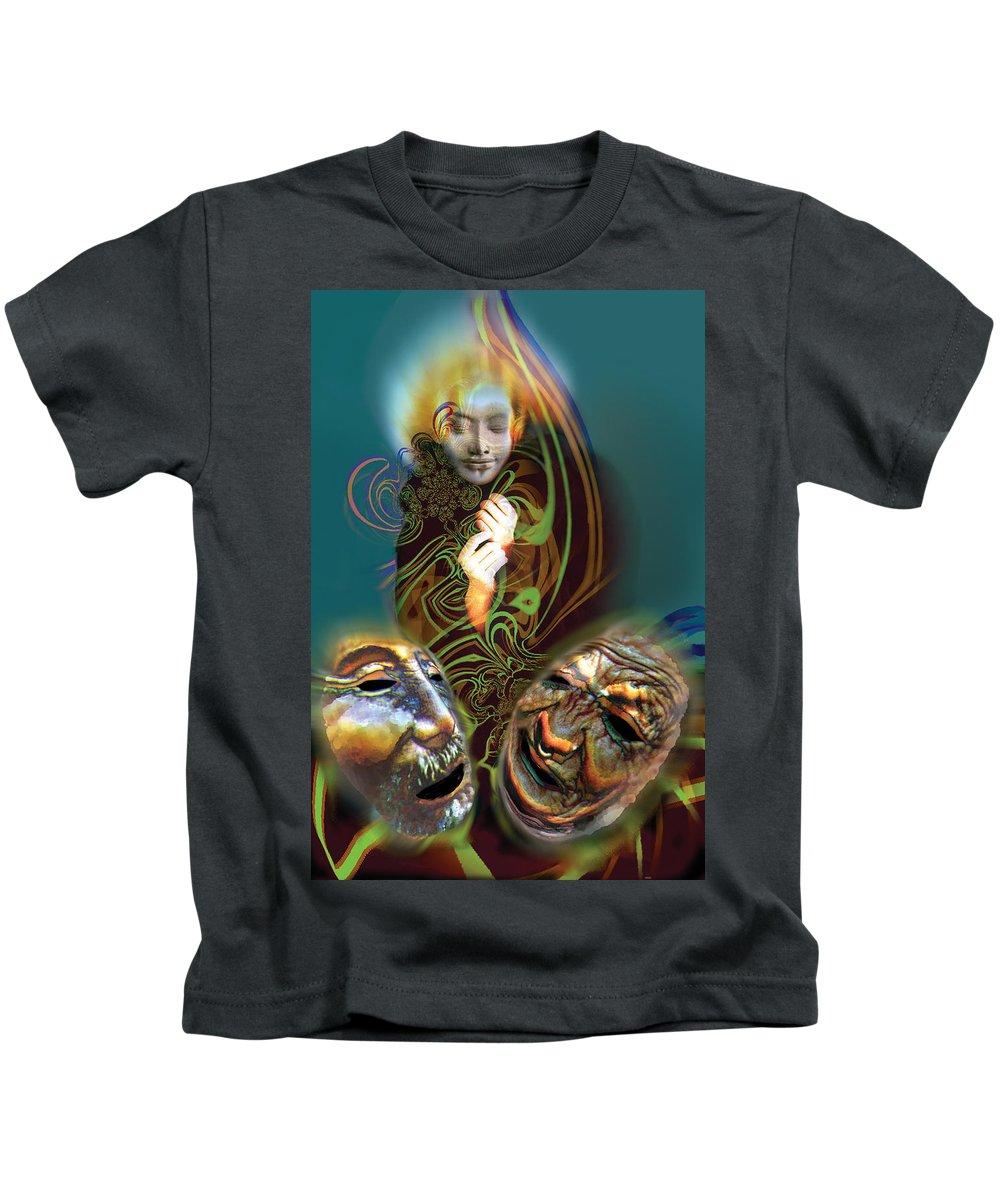 Mask Kids T-Shirt featuring the digital art Beyond Masks by Tony Macelli