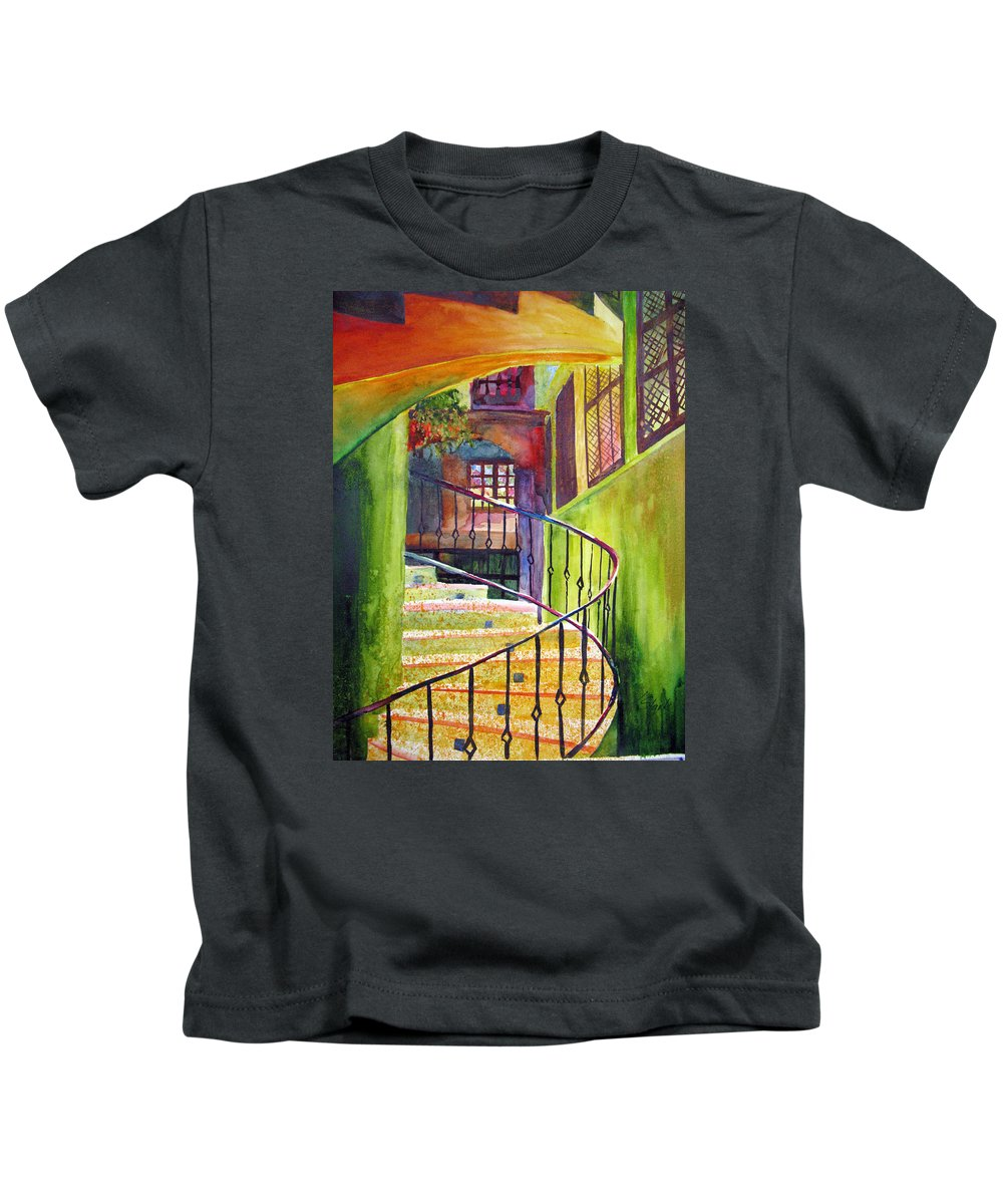 Architecture Kids T-Shirt featuring the painting Beyond The Steps by Karen Stark