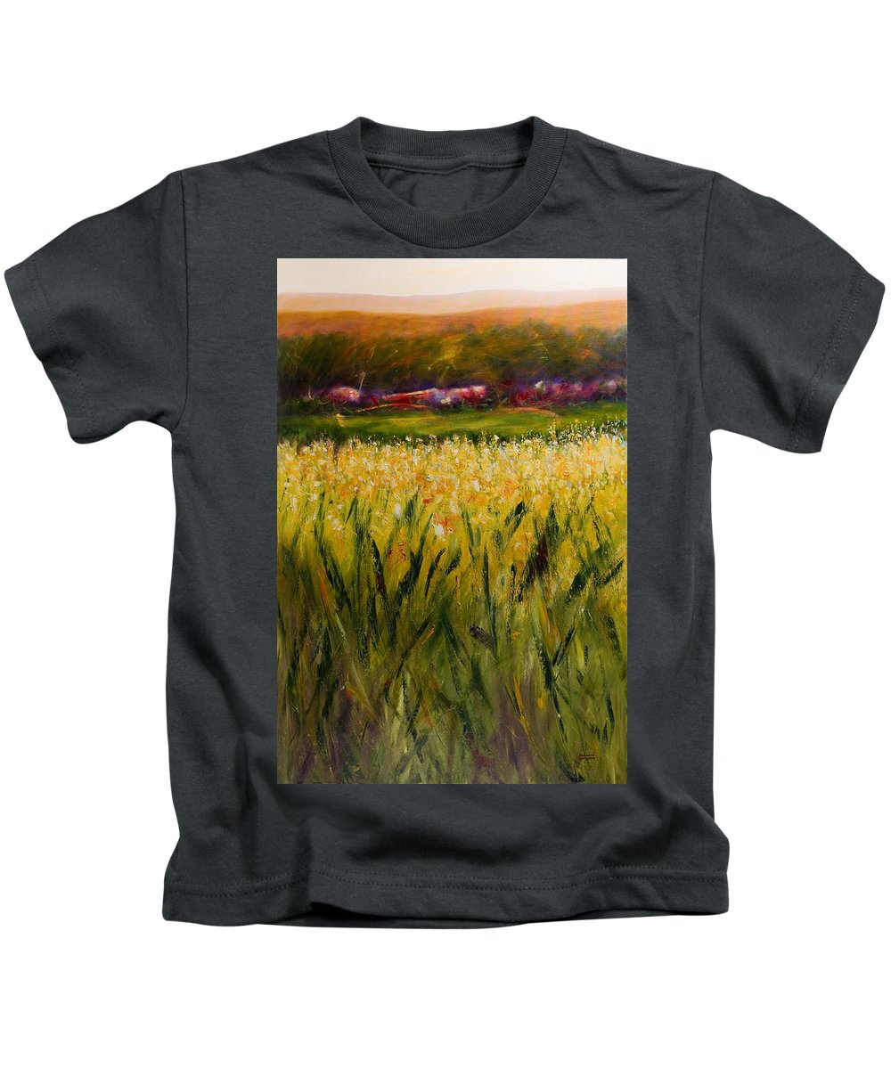 Landscape Kids T-Shirt featuring the painting Beyond The Valley by Shannon Grissom