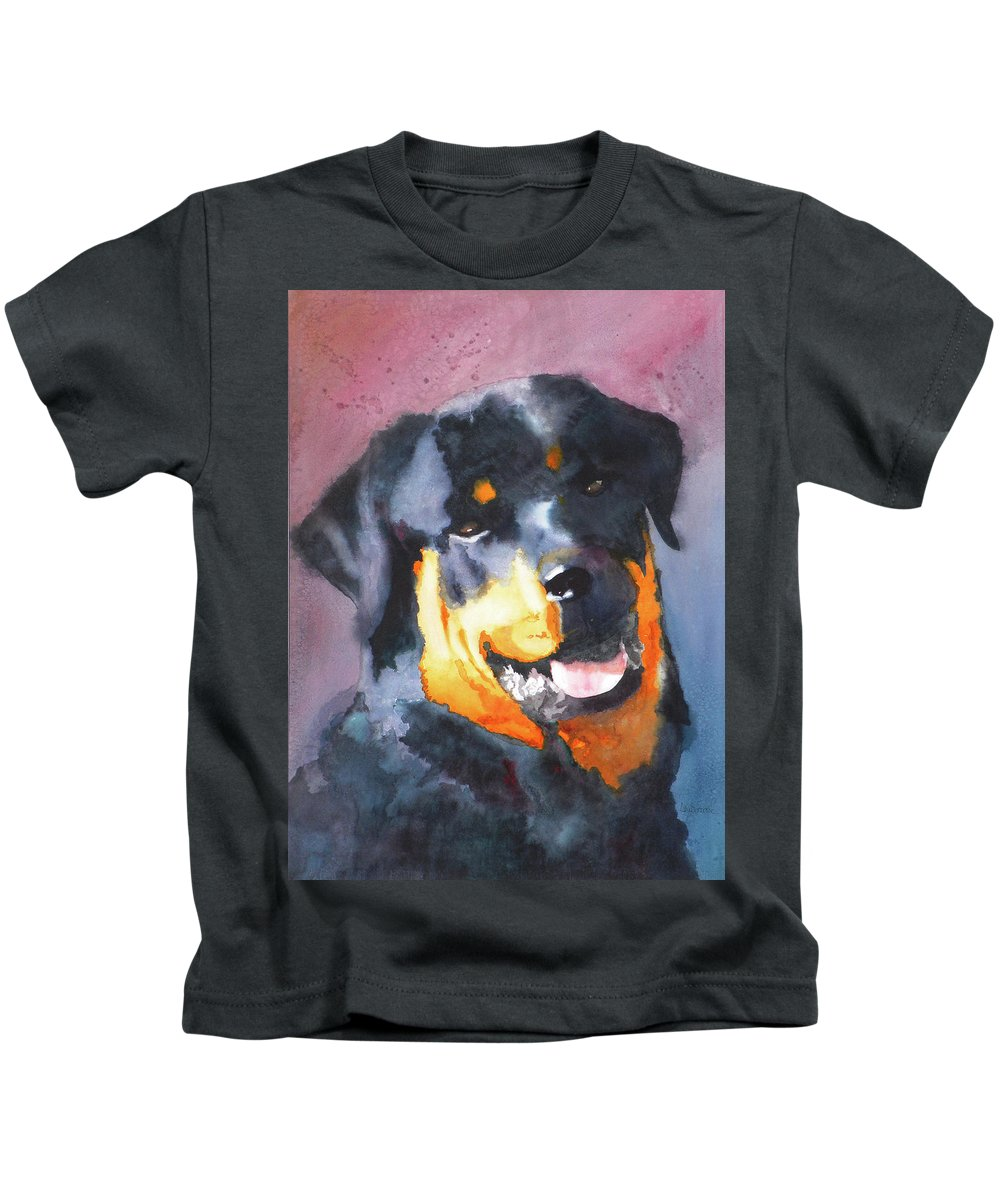 Rottweiler Kids T-Shirt featuring the painting Big Bob by Ally Benbrook
