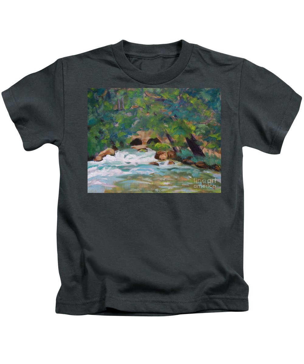 Impressionistic Kids T-Shirt featuring the painting Big Spring On The Current River by Jan Bennicoff