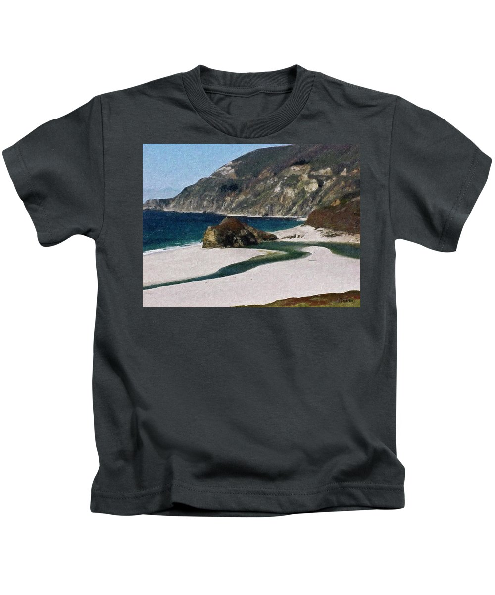 California Kids T-Shirt featuring the painting Big Sur California by Teresa Mucha