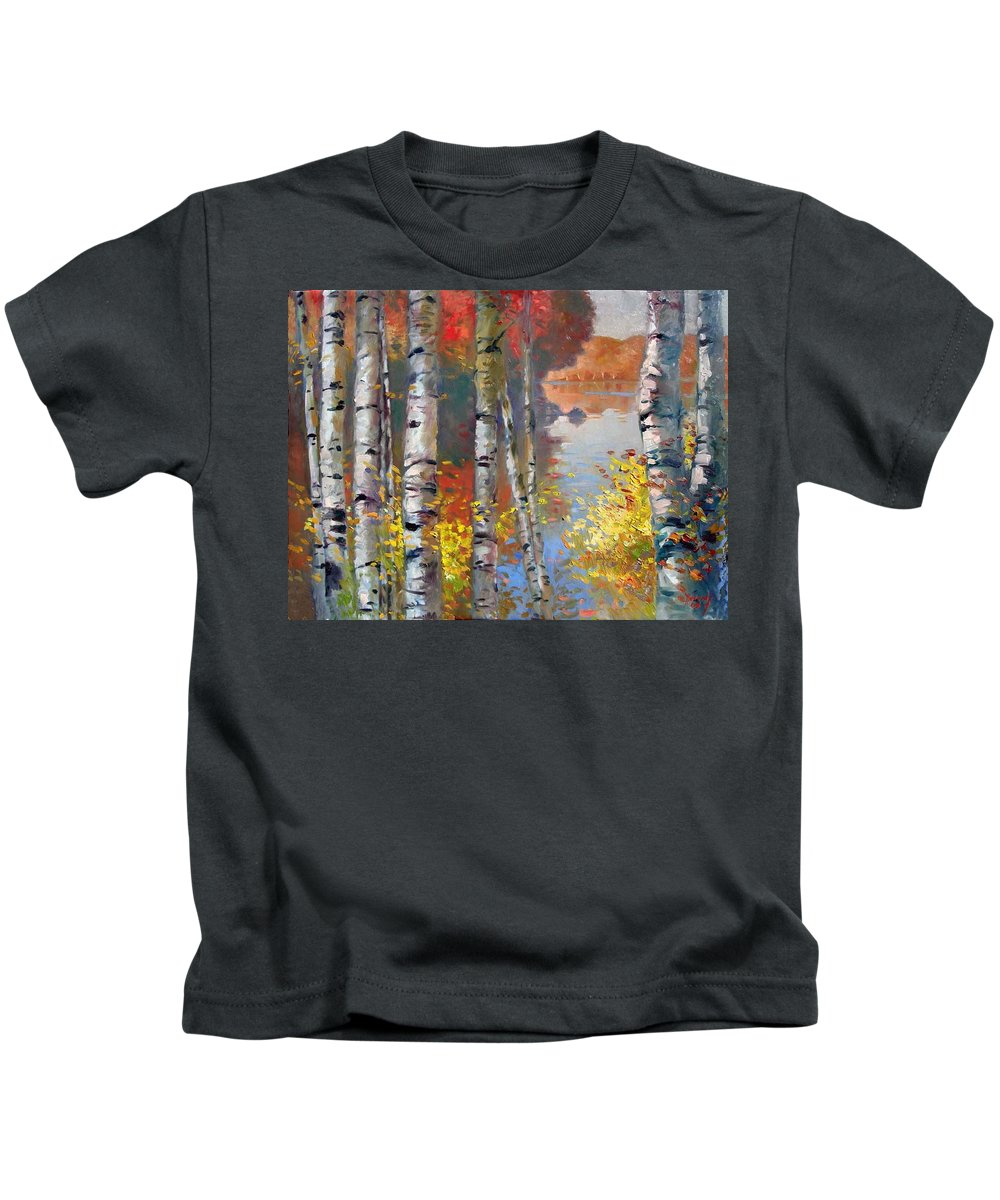 Landscape Kids T-Shirt featuring the painting Birch Trees By The Lake by Ylli Haruni