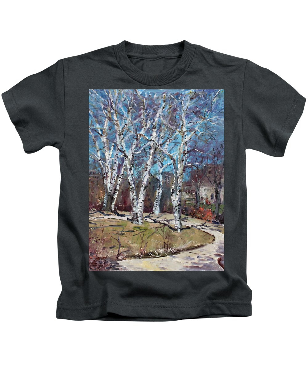 Landscape Kids T-Shirt featuring the painting Birch Trees Next Door by Ylli Haruni