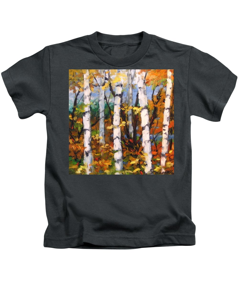 Art Kids T-Shirt featuring the painting Birches 03 by Richard T Pranke
