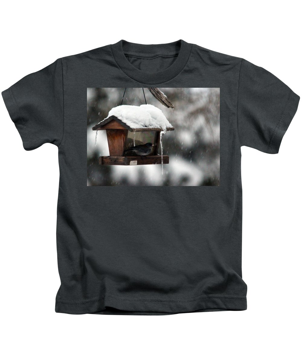 Bird Kids T-Shirt featuring the photograph Bird House Blues by Samantha Burrow