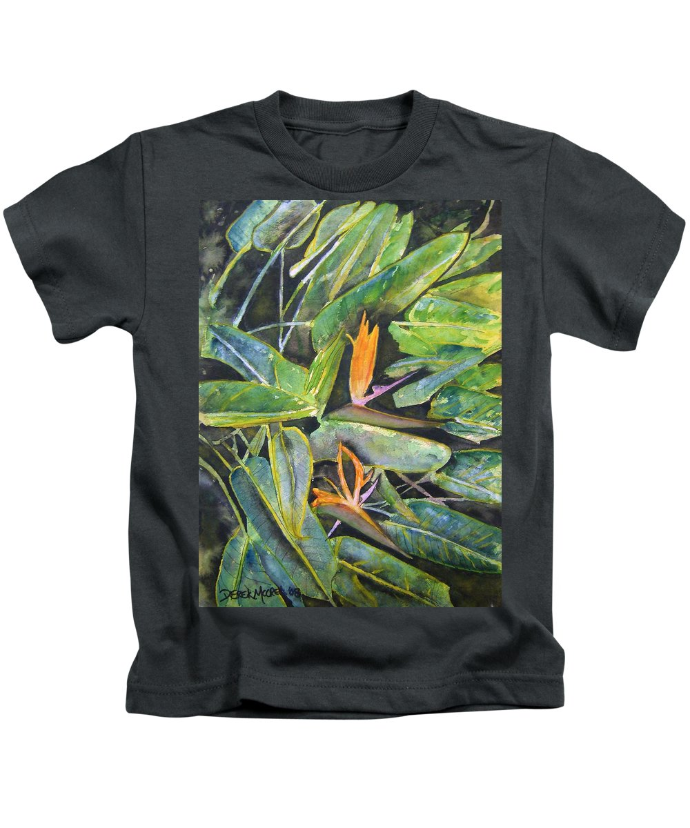 Flower Kids T-Shirt featuring the painting Bird Of Paradise 2 by Derek Mccrea