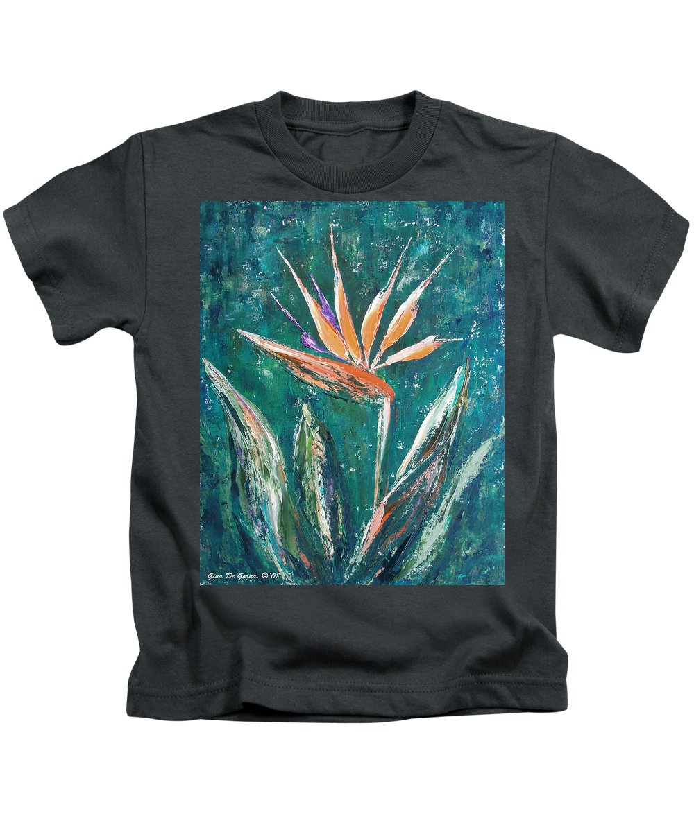 Bird Of Paradise Kids T-Shirt featuring the painting Bird Of Paradise by Gina De Gorna