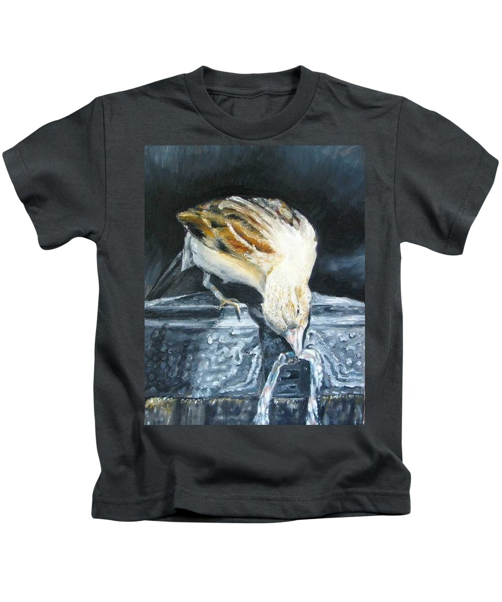 Oil Painting On Canvas Kids T-Shirt featuring the painting Bird Original Oil Painting by Natalja Picugina