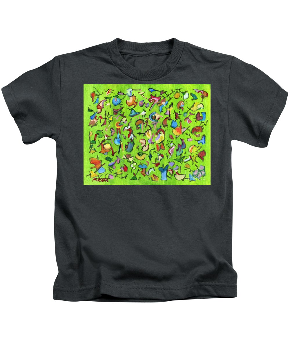 Birds Kids T-Shirt featuring the painting Birds And Bugs by Pamela Parsons