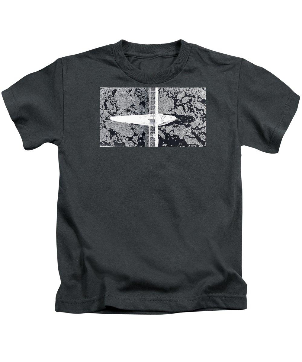 New Hope & Lambertville Bridge Kids T-Shirt featuring the photograph Birdseye View Of Bridge by Matt Stover