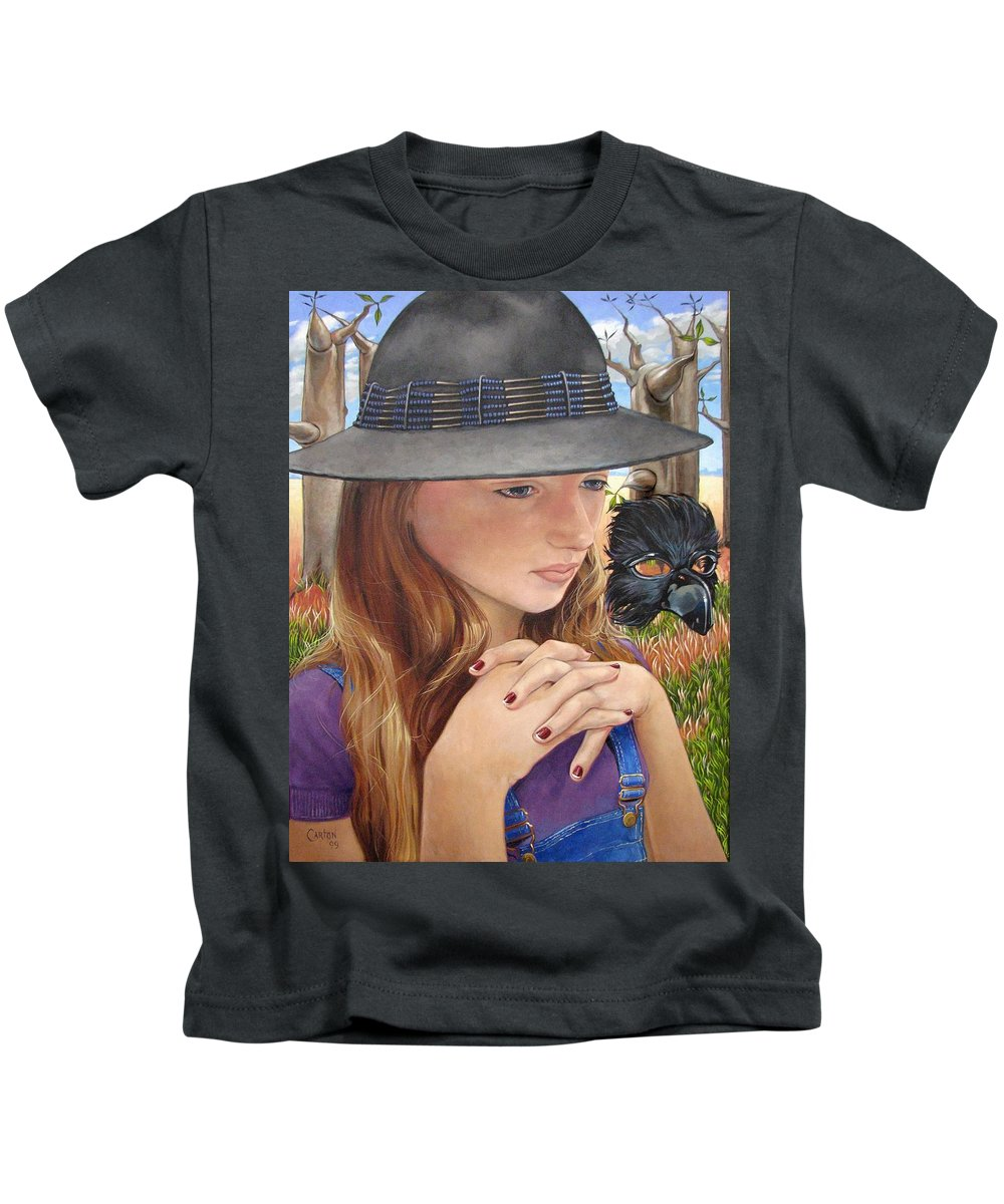 Girl Kids T-Shirt featuring the painting Birth Of The Scheme by Jerrold Carton