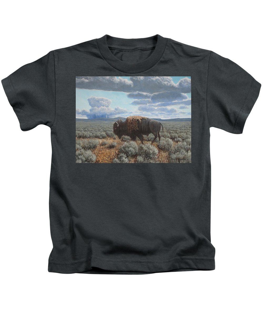 Landscape Kids T-Shirt featuring the painting Bison Bull on the prairie by Scott Robertson