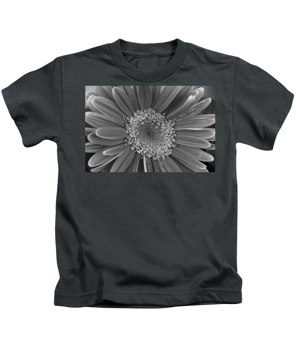 Flower Kids T-Shirt featuring the photograph Black And White Gerber Daisy 4 by Amy Fose