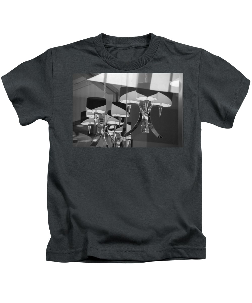 Chandeliers Kids T-Shirt featuring the photograph Black And White Lights by Rob Hans