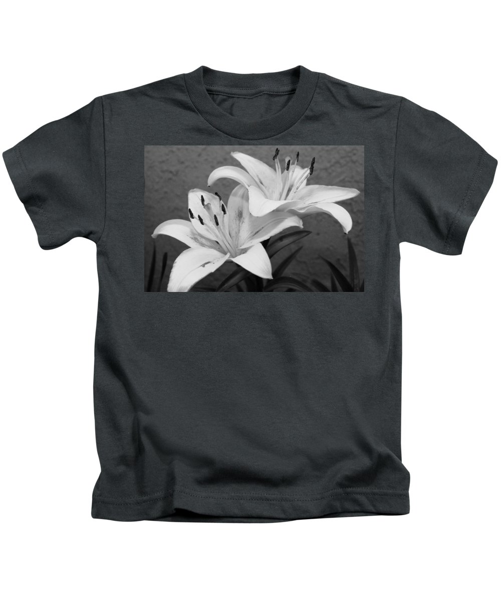 Flower Kids T-Shirt featuring the photograph Black And White Lilies 1 by Amy Fose
