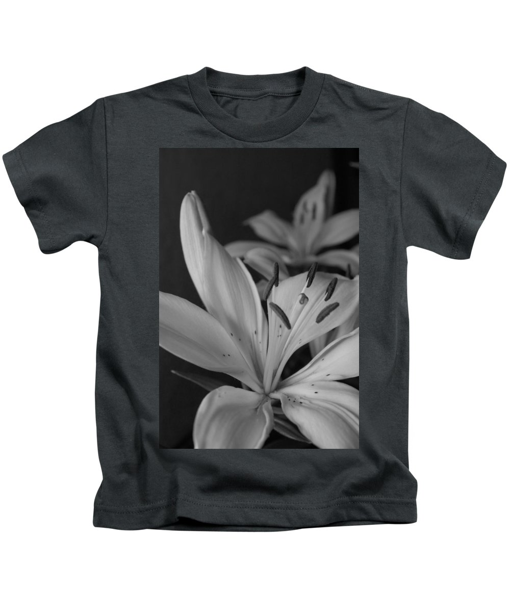 Flower Kids T-Shirt featuring the photograph Black And White Lilies 2 by Amy Fose