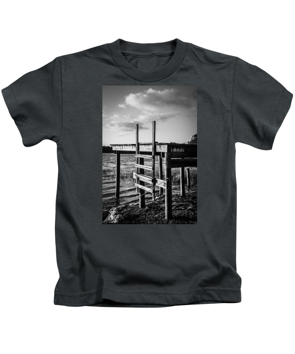 Monochrome Kids T-Shirt featuring the photograph Black And White Old Time Dock by Parker Cunningham