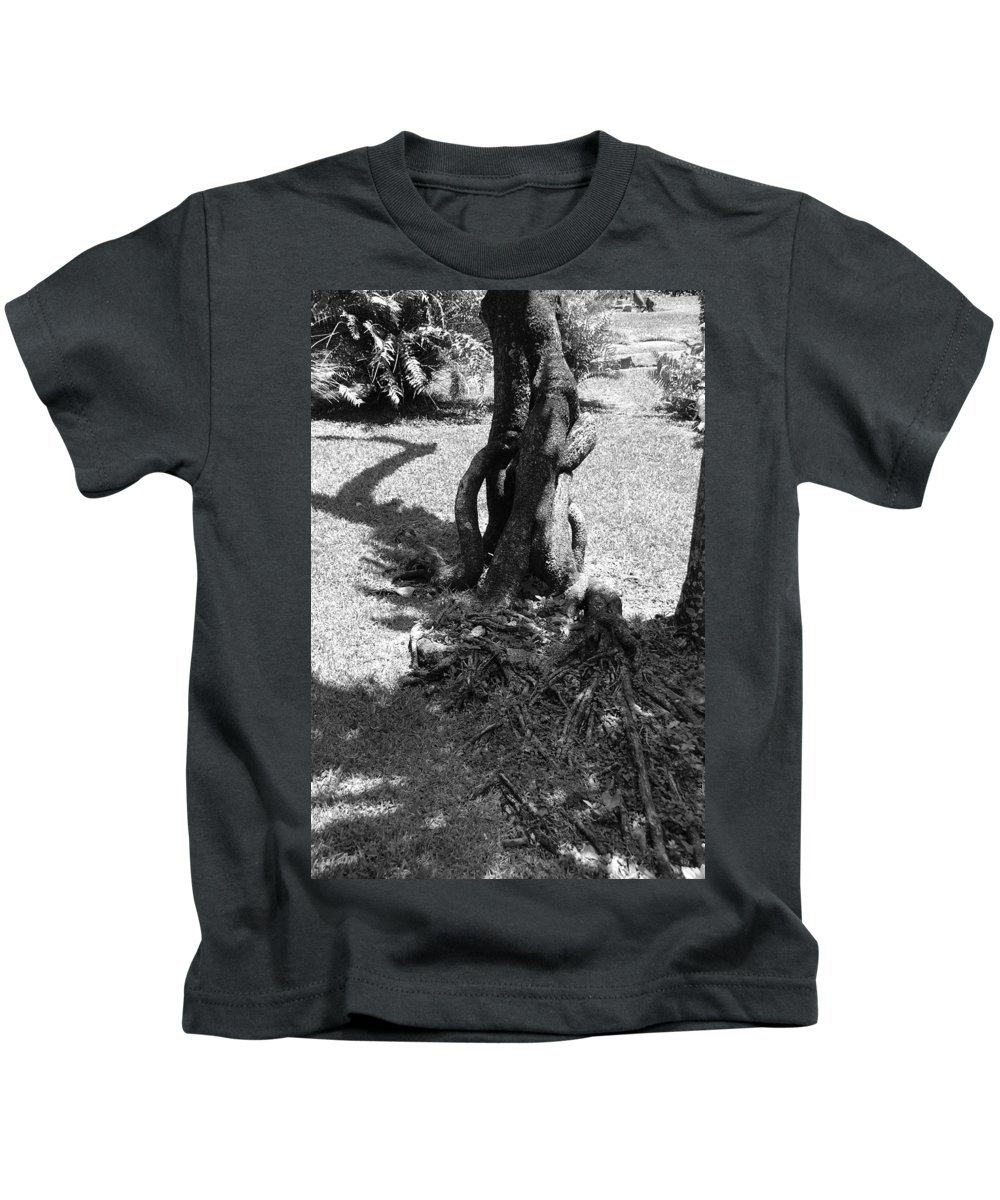Black And White Kids T-Shirt featuring the photograph Black And White Roots by Rob Hans