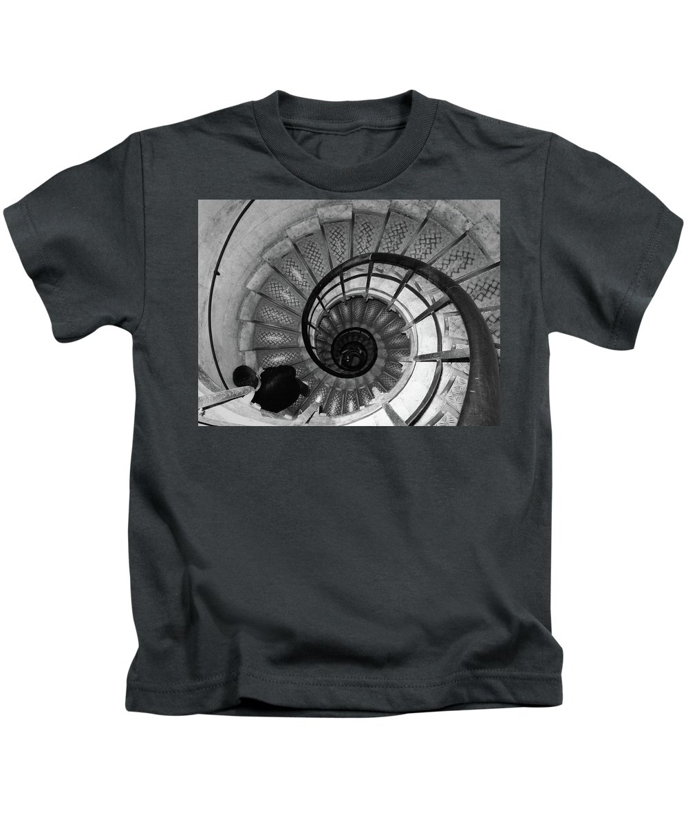 Black And White Kids T-Shirt featuring the photograph Black And White Spiral by Erin Donalson