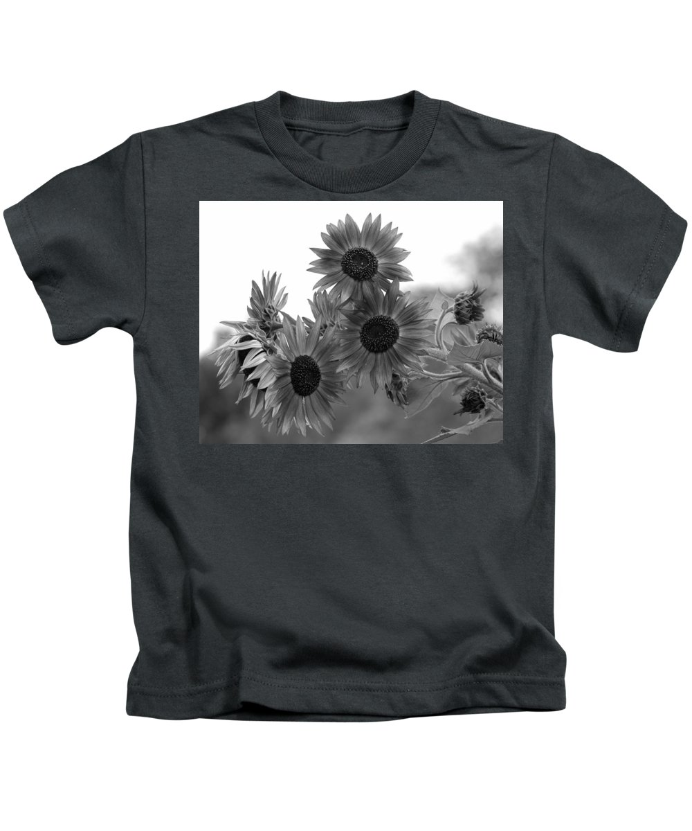 Flower Kids T-Shirt featuring the photograph Black And White Sunflowers by Amy Fose