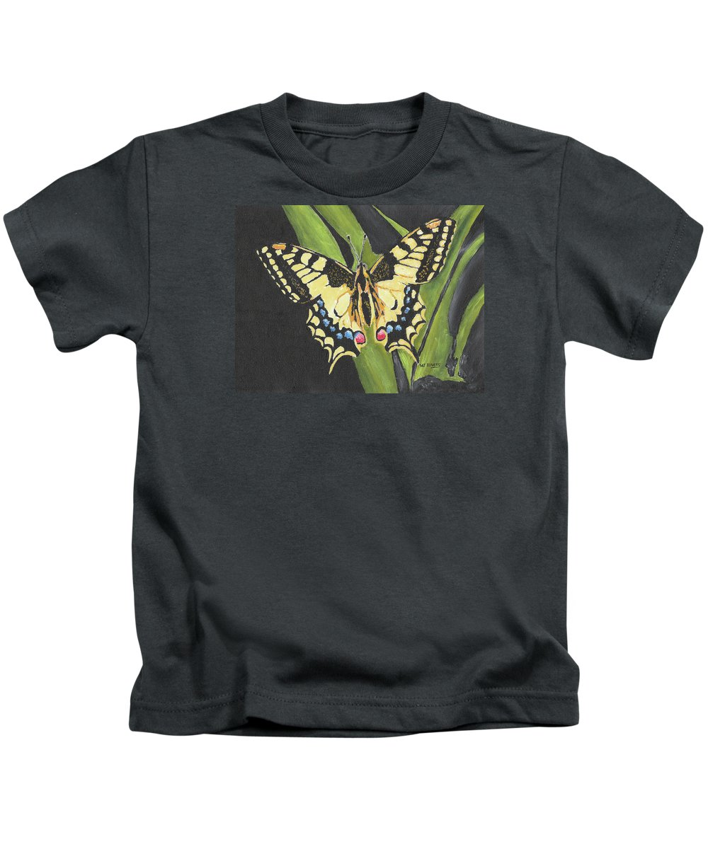 Butterfly Kids T-Shirt featuring the painting Black And Yellow Butterfly by William Bowers