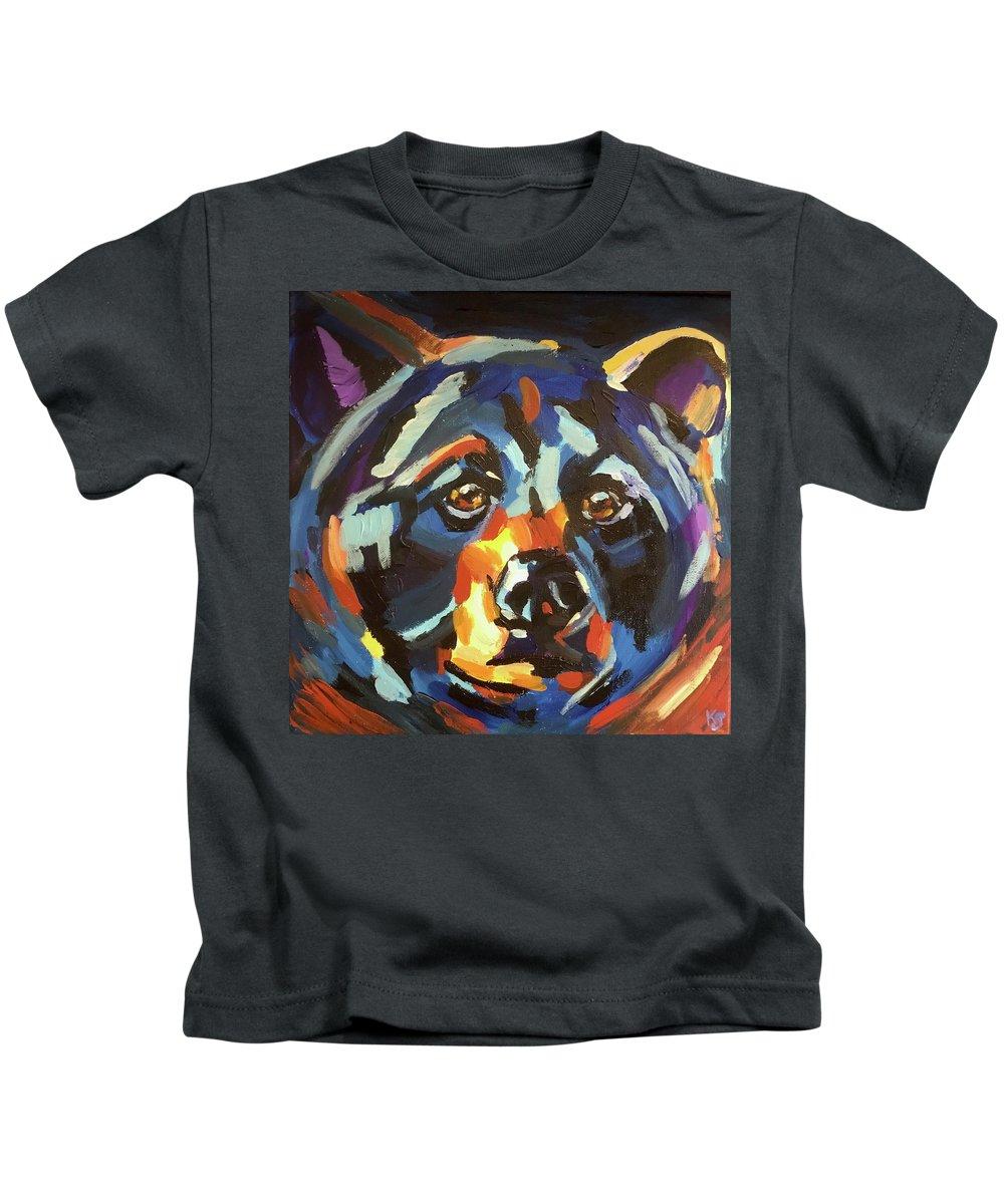 Black Bear Kids T-Shirt featuring the painting Black Bear - Black Night by Kathi Schwan